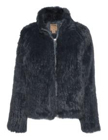 TRUE RELIGION Rabbit Knit Fur Coal Grey