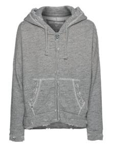 TRUE RELIGION Woven Hooded Zip Destroy Greymarl