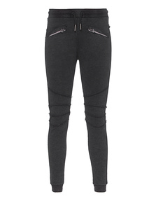TRUE RELIGION Womens Pant Biker Zipper Jetblack