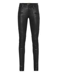 TRUE RELIGION Womens Leather Biker Black