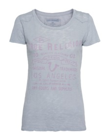 TRUE RELIGION Crew Relax Burn Light Grey