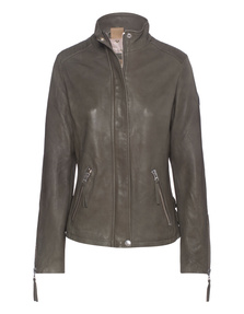 TRUE RELIGION Leather Funnel Neck Military Green