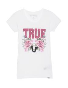 TRUE RELIGION Crew Shirt True Roses White
