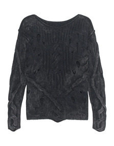 TRUE RELIGION Knit Cable Destroyed Jet Black