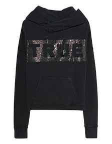 TRUE RELIGION Boxy Crop Logo Glitter Black