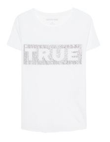 TRUE RELIGION Boxy Crew Glitter White