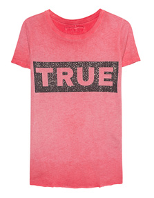 TRUE RELIGION Boxy Crew Glitter Red