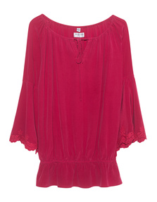 TRUE RELIGION Trumpet Blouse Racing Red