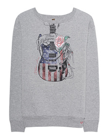 TRUE RELIGION Sweater Guitar Grey Melange