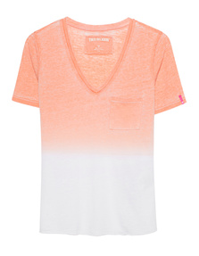 TRUE RELIGION V Neck Degradee Golden Poppy Orange