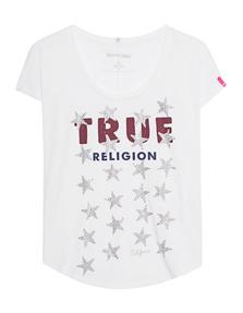 TRUE RELIGION STARS RHINESTONES WHITE