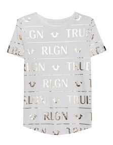 TRUE RELIGION Logo Gold Shirt Off-White