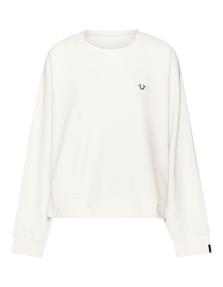 TRUE RELIGION Side Zip Crew Neck White