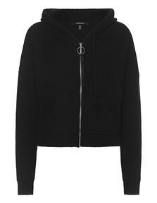 TRUE RELIGION Zipper Hood Ribbed Knit Black