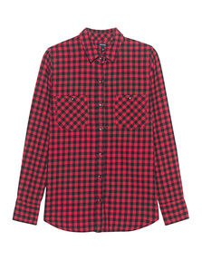 TRUE RELIGION Plaid Utility Shirt Red Check