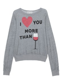 WILDFOX I Love You More Than Wine Heather Grey