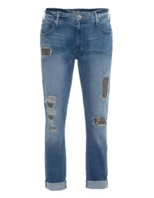 TRUE RELIGION Audrey Slim Boyfriend Sequin Distress Blue