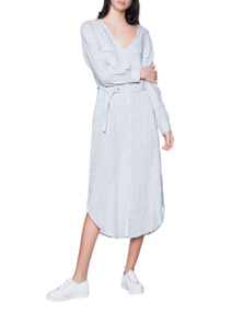 WOOLRICH Linen Long Dress Faded Blue
