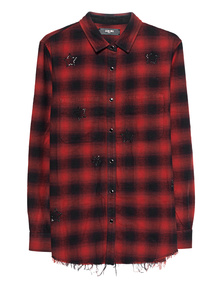 Amiri Crystal Plaid Red
