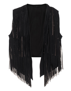 SLY 010 Soft velvet fringes Black