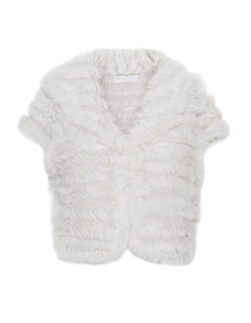 YOUNG COUTURE BY BARBARA SCHWARZER Bolero Fur Trim Off-White