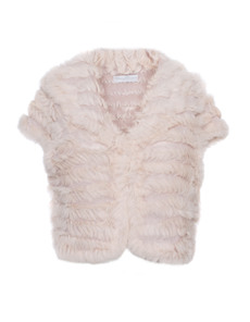 YOUNG COUTURE BY BARBARA SCHWARZER Bolero Fur Trim Rose