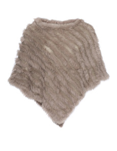 YOUNG COUTURE BY BARBARA SCHWARZER Fur Trim Poncho Greige