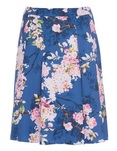 YOUNG COUTURE BY BARBARA SCHWARZER Floral Pleat Skirt Blue