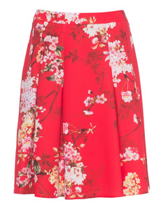 YOUNG COUTURE BY BARBARA SCHWARZER Floral Pleat Skirt Red