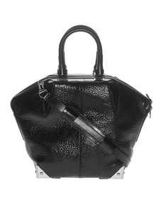 ALEXANDER WANG Emile Pebbled Patent Silver Black
