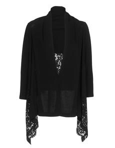 D.EXTERIOR Stretch Knit Lace Black