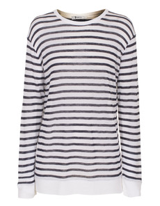 T BY ALEXANDER WANG Long Stripe Rayon Linen White And Blue