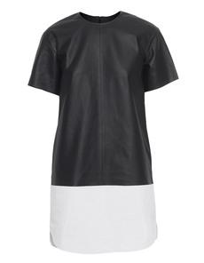 T BY ALEXANDER WANG Matte Leather Dress Black White