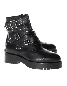MR. WOLF Studded Lace Up Leather Black