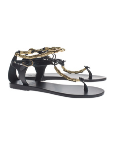 Ancient Greek Sandals Chrysso Black Gold