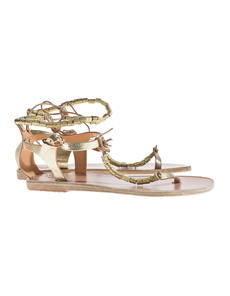 Ancient Greek Sandals Chrysso Cracked Gold