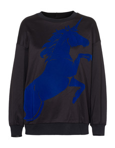Clover Canyon Flocked Unicorn Sweat Black