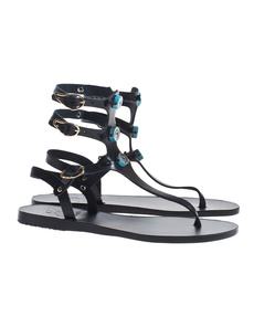 Ancient Greek Sandals Eyes High Black