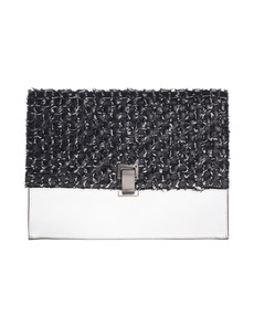 PROENZA SCHOULER Large Lunch Woven Black White