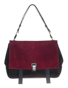 PROENZA SCHOULER PS Large Courier Velours Red Mogano Black