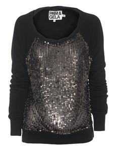 Pam&Gela Sequin Back Zip Antique Black