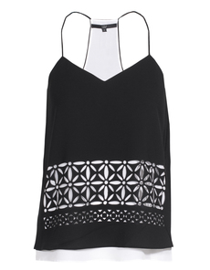 TIBI Cami Fleur Cut Out Black