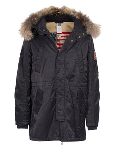 TRUE RELIGION Parka Raccoon Black
