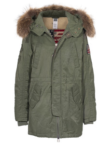 TRUE RELIGION Parka Raccoon Olive