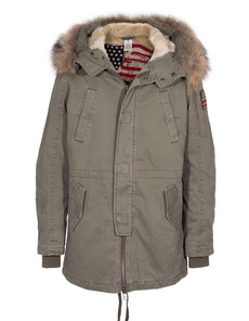 TRUE RELIGION Parka Fur Military Green