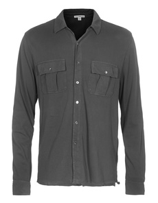 JAMES PERSE Jersey Shirt Jacket Charcoal