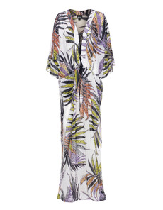 JUST CAVALLI Reptile Plant Dress White Multi