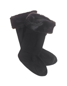 HUNTER Soft Furry Welly Panther Black