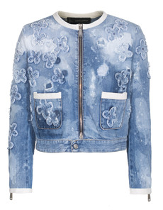DSQUARED2 Flower Denim Stitch Boxy Blue