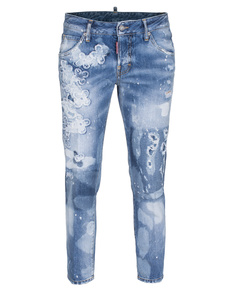 DSQUARED2 Cropped Glam Medium Crotch Flower Blue